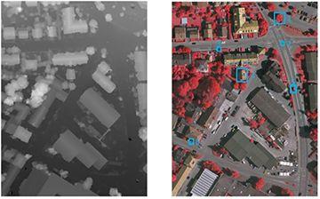 Comparación entre dos imágenes aéreas (multifuente y multiespectrales).