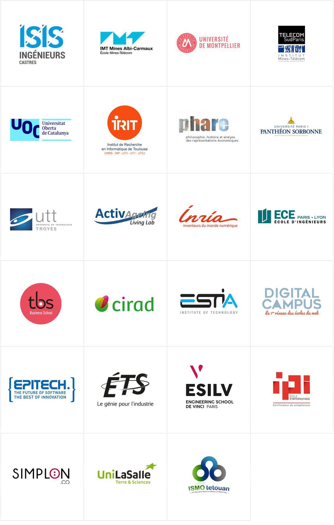 Lista de escuelas y universidades asociadas.